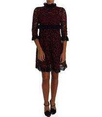 floral lace bourgondië toga mock collar jurk