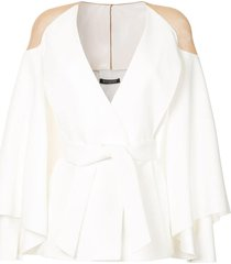 balmain sheer shoulder jacket - white