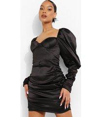 bodycon mini jurk met geplooide pofschouders, black