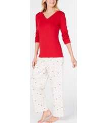 charter club lace-trim top & printed pajama pants set, created for macy's