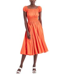 inc cotton smocked-waist midi dress, created for macy's