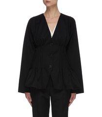 pintuck v-neck peplum waist wool jacket