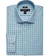 pronto uomo green & blue check dress shirt