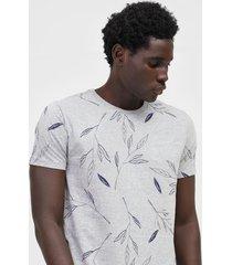 camiseta aleatory folhagem cinza