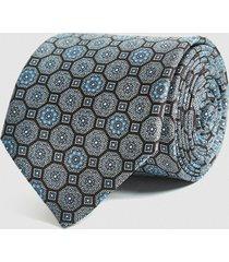 reiss rennes - silk medallion tie in airforce blue, mens
