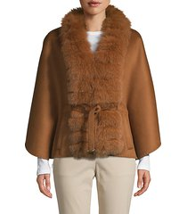 made for generation fox fur-trim cashmere & wool blend cape