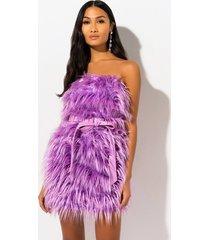 akira who what where faux fur tube mini dress