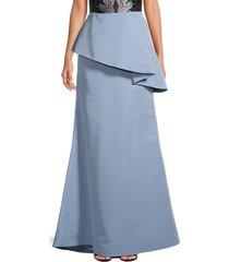 reem acra women's asymmetric peplum silk maxi skirt - light blue - size 10