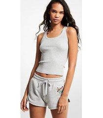 mk shorts in misto cotone biologico con logo e cuore arcobaleno - grigio perla (grigio) - michael kors