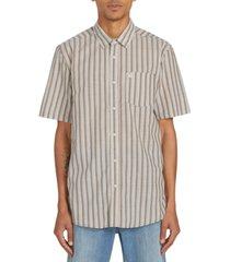 volcom men's duffel stripe short sleeve shirt