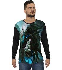 camiseta lucinoze manga longa horse preto