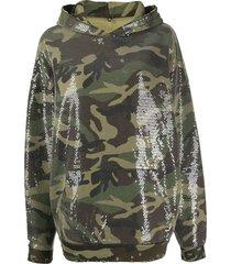 r13 sequin-embellished hoodie - green