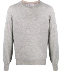brunello cucinelli grey virgin wool and cashmere sweater