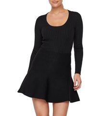 women's aware by vero moda maci scoop neck ribbed sweater, size small - black