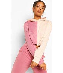korte colourblock hoodie, rose