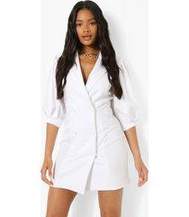 geweven blazer jurk met pofmouwen, white