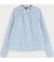 scotch & soda cotton -blend long sleeve top with gathered collar