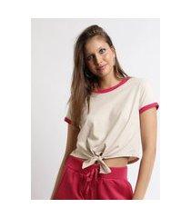 blusa feminina básica com amarração manga curta decote redondo bege