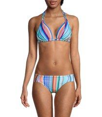 la blanca women's sunset striped triangle bikini top - size 0
