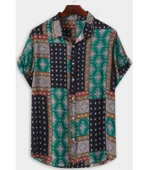 hombre verano algodón hawaii all over print tribal playa holiday camisa