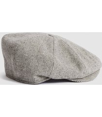 reiss davey - christys' baker boy cap in grey marl, mens, size m/l