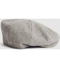 reiss davey - christys' baker boy cap in grey marl, mens, size m/l