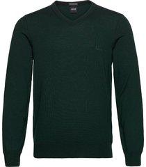 baram-l stickad tröja v-krage grön boss