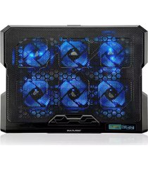 base gamer multilaser com 6 fans led preto e azul ac282