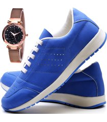 tãªnis sapatãªnis casual fashion com relã³gio gold dubuy 1102-1103el azul - azul - feminino - sintã©tico - dafiti