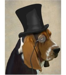 "fab funky basset hound, formal hound and hat canvas art - 15.5"" x 21"""