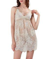 memoi women's sheer lace chemise - vanilla - size s