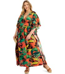inc plus size printed dolman-sleeve kimono dress, created for macy's