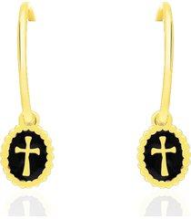orecchini a cerchio in argento dorato con pendente croce per donna