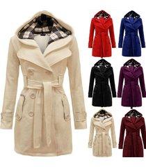 8 colors women's warm fleece hooded jacket with belt coat hooded woolen coat bel