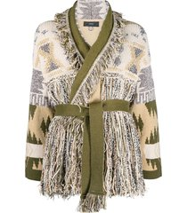 alanui intarsia-knit fringed cardigan - green