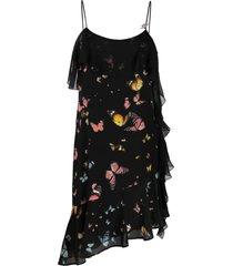 blumarine butterfly-print silk dress