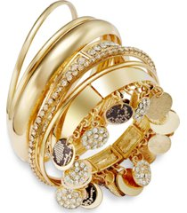 thalia sodi faux-snakeskin pave disc bangle bracelet set, created for macy's