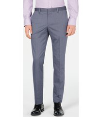 hugo men's slim-fit stretch navy vertical stripe suit pants