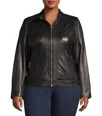 cole haan women's plus zip-front leather moto jacket - chianti - size 1x (14-16)