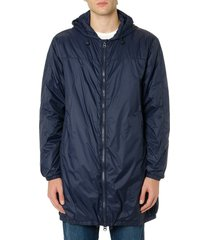 mauro grifoni navy blue synthetic fiber hooded coat