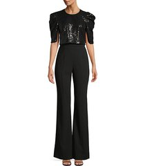black halo women's teresa combo sequin wide-leg jumpsuit - night sky - size 0
