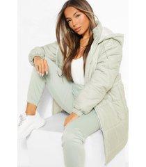 petite hooded longline drawcord waist padded jacket, sage