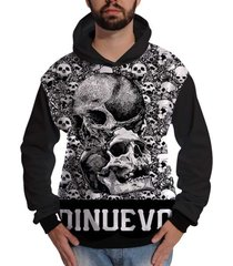 blusa de moletom di nuevo rock skull caveiras miniaturas preto