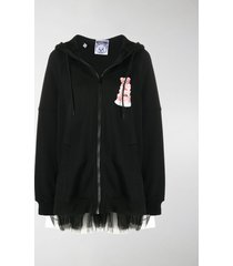 moschino tulle trim teddy cake hoodie