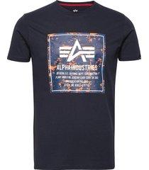 camo block t t-shirts short-sleeved blå alpha industries
