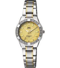 reloj q&q q865j400y análogo bicolor para mujer