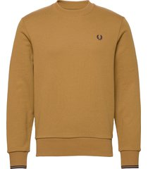 crew neck sweatshirt sweat-shirt tröja brun fred perry