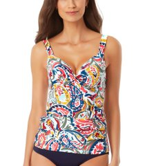 anne cole watercolor paisley underwire twist-front tankini top women's swimsuit