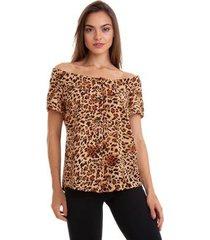 blusa kinara animal print feminino