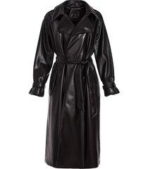 alice+olivia vegan leather belted trenchcoat - black